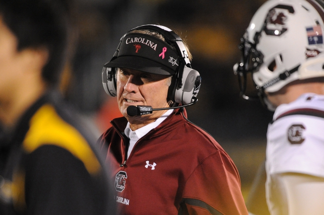 Oct 26, 2013; Columbia, MO, USA; South Carolina Gamecocks head coach Steve Spurrier watches from the sidelines during the second half against the Missouri Tigers at Faurot Field. South Carolina won 27-24. Mandatory Credit: Denny Medley-USA TODAY Sports