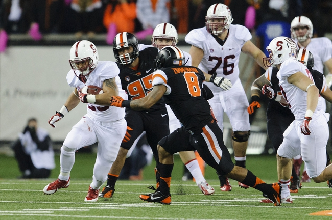 Oct 26, 2013; Corvallis, OR, USA; Stanford Cardinal running back Tyler Gaffney (25) runs with the ball against the Oregon State Beavers during the first half at Reser Stadium. Mandatory Credit: Steven Bisig-USA TODAY Sports