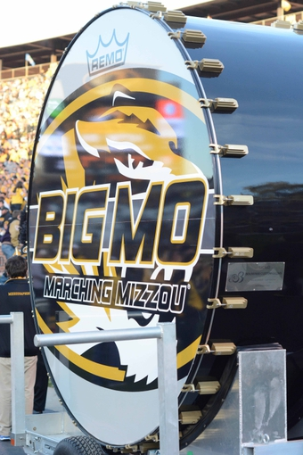 Oct 26, 2013; Columbia, MO, USA; The Big Mo drum is brought onto the field before the game between the Missouri Tigers and South Carolina Gamecocks at Faurot Field. South Carolina won 27-24. Mandatory Credit: Denny Medley-USA TODAY Sports