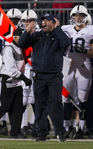 Oct 26, 2013; Columbus, OH, USA; Penn State Nittany Lions head coach Bill O'Brien reacts to a call by the officials in the game against the Ohio State Buckeyes at Ohio Stadium. Ohio State won the game 63-14. Mandatory Credit: Greg Bartram-USA TODAY Sports