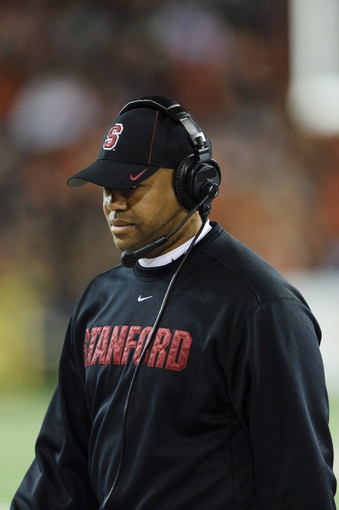 Oct 26, 2013; Corvallis, OR, USA; Stanford Cardinal head coach David Shaw during the 2nd half against the Oregon State Beavers at Reser Stadium. Stanford defeated Oregon State 20-12. Mandatory Credit: Steven Bisig-USA TODAY Sports