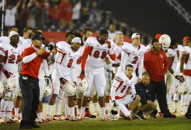Oct 26, 2013; San Diego, CA, USA; Fresno State Bulldogs players wait for a fourth down play in overtime against the San Diego State Aztecs at Qualcomm Stadium. Fresno State won 35-28 in overtime. Mandatory Credit: Christopher Hanewinckel-USA TODAY Sports