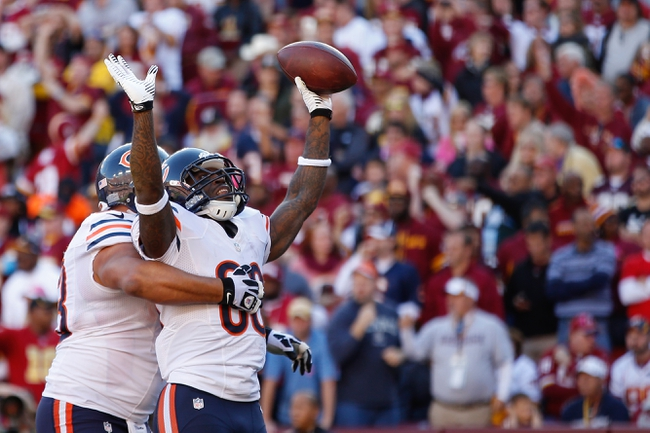 Oct 20, 2013; Landover, MD, USA; Chicago Bears wide receiver Earl Bennett (80) celebrates after scoring a touchdown against the Washington Redskins at FedEx Field. Mandatory Credit: Geoff Burke-USA TODAY Sports