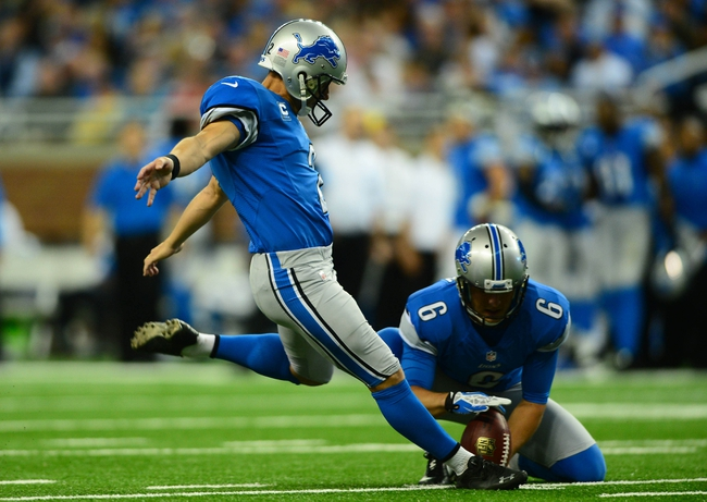 Oct 27, 2013; Detroit, MI, USA; Detroit Lions kicker David Akers (2) kicks a field goal during the third quarter against the Dallas Cowboys at Ford Field. Mandatory Credit: Andrew Weber-USA TODAY Sports