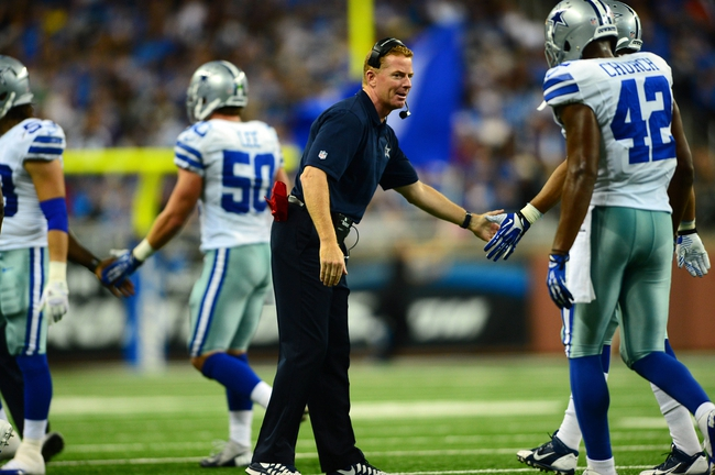 Oct 27, 2013; Detroit, MI, USA; Dallas Cowboys head coach Jason Garrett congratulates players during the third quarter against the Detroit Lions at Ford Field. Mandatory Credit: Andrew Weber-USA TODAY Sports