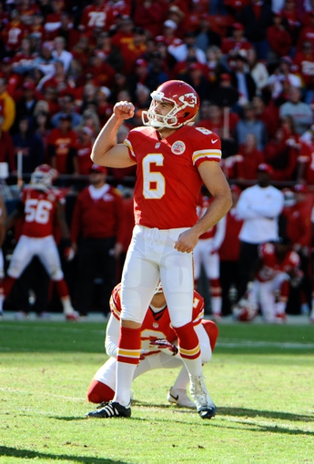 Oct 27, 2013; Kansas City, MO, USA; Kansas City Chiefs kicker Ryan Succop (6) celebrates after kicking a field goal against the Cleveland Browns in the second half at Arrowhead Stadium. The Chiefs won the game 23-17. Mandatory Credit: John Rieger-USA TODAY Sports