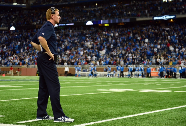 Oct 27, 2013; Detroit, MI, USA; Dallas Cowboys head coach Jason Garrett looks on the field sidelines during the fourth quarter against the Detroit Lions at Ford Field. Mandatory Credit: Andrew Weber-USA TODAY Sports