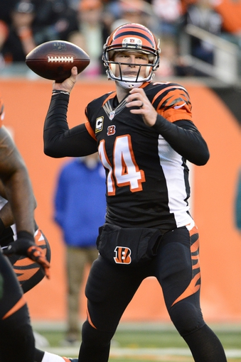 Oct 27, 2013; Cincinnati, OH, USA; Cincinnati Bengals quarterback Andy Dalton (14) throws a pass during the second half of the game at Paul Brown Stadium. Mandatory Credit: Marc Lebryk-USA TODAY Sports