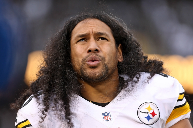 Oct 27, 2013; Oakland, CA, USA; Pittsburgh Steelers strong safety Troy Polamalu (43) on the sideline during the fourth quarter against the Oakland Raiders at O.co Coliseum. The Oakland Raiders defeated the Pittsburgh Steelers 21-18. Mandatory Credit: Kelley L Cox-USA TODAY Sports