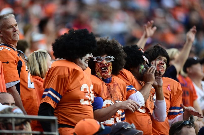 Oct 27, 2013; Denver, CO, USA; Denver Broncos fans react during the fourth quarter against the Washington Redskins at Sports Authority Field at Mile High. Mandatory Credit: Ron Chenoy-USA TODAY Sports