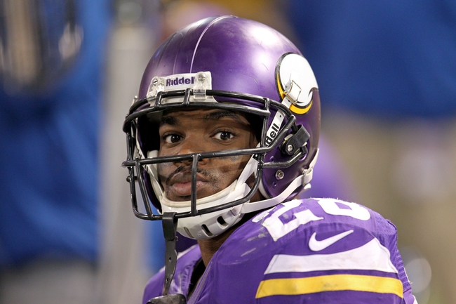 Oct 27, 2013; Minneapolis, MN, USA; Minnesota Vikings running back Adrian Peterson (28) looks on during the fourth quarter against the Green Bay Packers at Mall of America Field at H.H.H. Metrodome. The Packers defeated the Vikings 44-31. Mandatory Credit: Brace Hemmelgarn-USA TODAY Sports