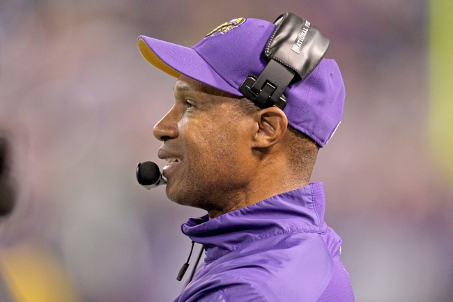 Oct 27, 2013; Minneapolis, MN, USA; Minnesota Vikings head coach Leslie Frazier looks on during the fourth quarter against the Green Bay Packers at Mall of America Field at H.H.H. Metrodome. The Packers defeated the Vikings 44-31. Mandatory Credit: Brace Hemmelgarn-USA TODAY Sports