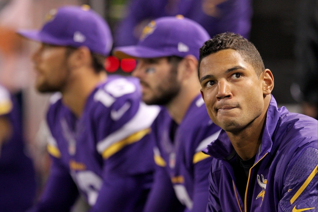 Oct 27, 2013; Minneapolis, MN, USA; Minnesota Vikings quarterback Josh Freeman (12) sits by the other quarterbacks during the fourth quarter against the Green Bay Packers at Mall of America Field at H.H.H. Metrodome. The Packers defeated the Vikings 44-31. Mandatory Credit: Brace Hemmelgarn-USA TODAY Sports