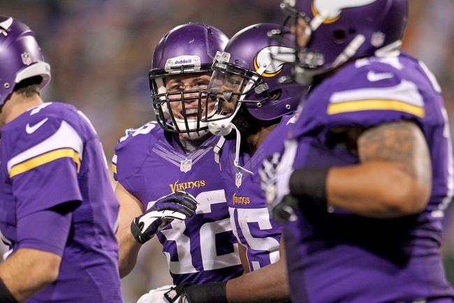Oct 27, 2013; Minneapolis, MN, USA; Minnesota Vikings running back Toby Gerhart (32) celebrates his touchdown with wide receiver Greg Jennings (15) during the fourth quarter against the Green Bay Packers at Mall of America Field at H.H.H. Metrodome. The Packers defeated the Vikings 44-31. Mandatory Credit: Brace Hemmelgarn-USA TODAY Sports