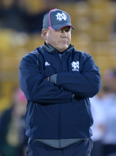 Oct 19, 2013; South Bend, IN, USA; Notre Dame Fighting Irish coach Brian Kelly reacts during the game against the Southern California Trojans at Notre Dame Stadium. Mandatory Credit: Kirby Lee-USA TODAY Sports