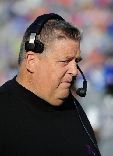 Oct 19, 2013; Lawrence, KS, USA; Kansas Jayhawks head coach Charlie Weis on the sidelines against the Oklahoma Sooners in the second half at Memorial Stadium. Oklahoma won the game 34-19. Mandatory Credit: John Rieger-USA TODAY Sports