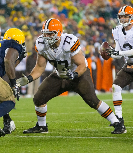 Oct 20, 2013; Green Bay, WI, USA; Cleveland Browns offensive lineman John Greco (77) during the game against the Green Bay Packers at Lambeau Field.  Green Bay won 31-13.  Mandatory Credit: Jeff Hanisch-USA TODAY Sports