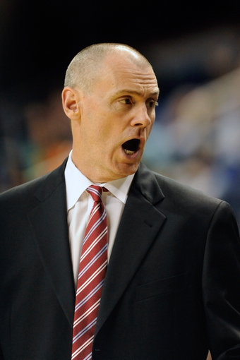 Oct 19, 2013; Greensboro, NC, USA; Dallas Mavericks head coach Rick Carlisle during the game against the Charlotte Bobcats at the Greensboro Coliseum. Mavericks win 89-83. Mandatory Credit: Sam Sharpe-USA TODAY Sports