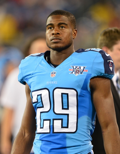 Aug 24, 2013; Nashville, TN, USA; Tennessee Titans cornerback Blidi Wreh-Wilson (29) walks in the Titans bench area in a game against the Atlanta Falcons during the second half at LP Field. The Titans beat the Falcons 27-16. Mandatory Credit: Don McPeak-USA TODAY Sports