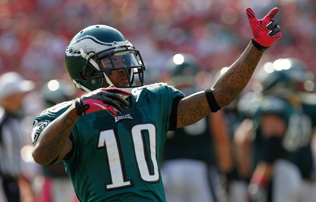 Oct 13, 2013; Tampa, FL, USA; Philadelphia Eagles wide receiver DeSean Jackson (10) gets the fans pumped up against the Tampa Bay Buccaneers during the second half at Raymond James Stadium. Philadelphia Eagles defeated the Tampa Bay Buccaneers 31-20. Mandatory Credit: Kim Klement-USA TODAY Sports