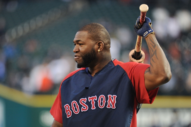 Oct 16, 2013; Detroit, MI, USA; Boston Red Sox designated hitter David Ortiz (34) during batting practice prior to game four of the American League Championship Series baseball game against the Detroit Tigers at Comerica Park. Mandatory Credit: Tim Fuller-USA TODAY Sports