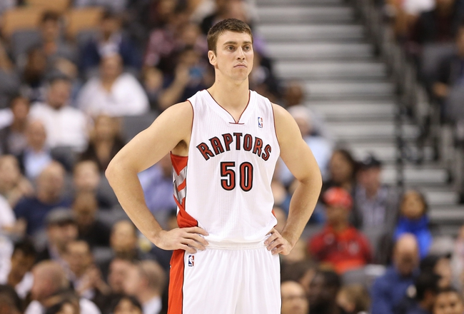 Oct 11, 2013; Toronto, Ontario, CAN; Toronto Raptors forward Tyler Hansbrough (50) against the New York Knicks at Air Canada Centre. The Raptors beat the Knicks 100-91. Mandatory Credit: Tom Szczerbowski-USA TODAY Sports