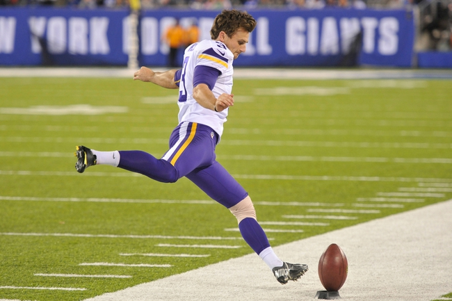 Oct 21, 2013; East Rutherford, NJ, USA; Minnesota Vikings kicker Blair Walsh (3) warms up on the sideline against the New York Giants at MetLife Stadium.  The Giants won the game 23-7. Mandatory Credit: Joe Camporeale-USA TODAY Sports