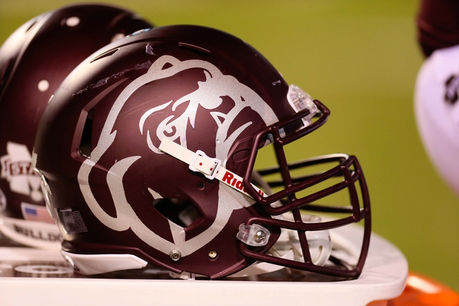 Oct 24, 2013; Starkville, MS, USA; Mississippi State Bulldogs helmet during the game against the Kentucky Wildcats at Davis Wade Stadium. Mississippi State Bulldogs win the game against Kentucky Wildcats 28-22.  Mandatory Credit: Spruce Derden-USA TODAY Sports