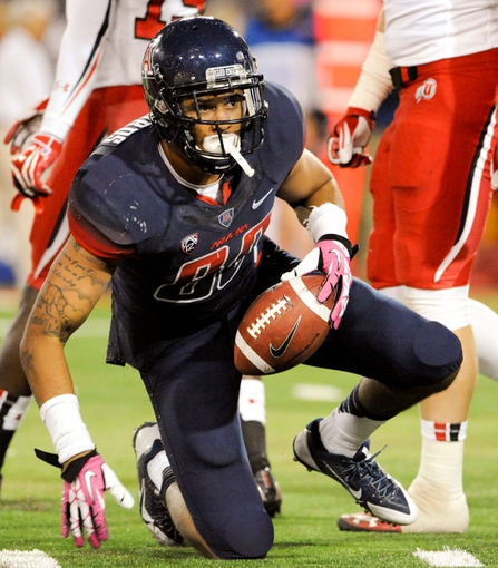 Oct 19, 2013; Tucson, AZ, USA; Arizona Wildcats receiver David Richards (80) in between plays during the third quarter against the Utah Utes at Arizona Stadium. Arizona beat Utah 35-44. Mandatory Credit: Casey Sapio-USA TODAY Sports
