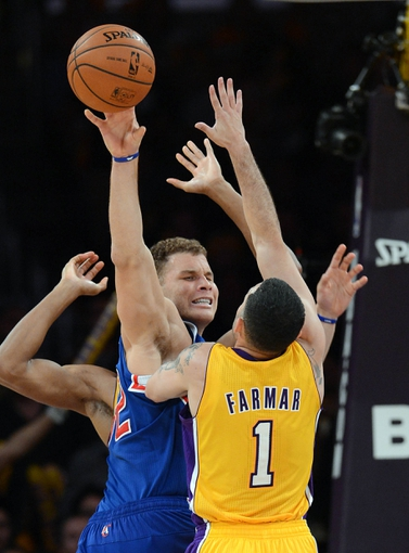 Oct 29, 2013; Los Angeles, CA, USA; Los Angeles Lakers point guard Jordan Farmar (1) guards Los Angeles Clippers power forward Blake Griffin (32) in the second half of the game at the at Staples Center. Lakers won 116-103. Mandatory Credit: Jayne Kamin-Oncea-USA TODAY Sports