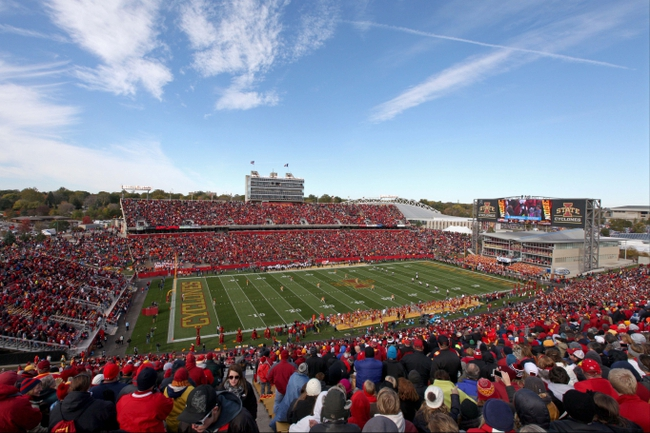 Oct 26, 2013; Ames, IA, USA; A general view of Jack Trice Stadium during the game between the Iowa State Cyclones and the Oklahoma State Cowboys. Oklahoma State defeated Iowa State 58-27. Mandatory Credit: Brace Hemmelgarn-USA TODAY Sports