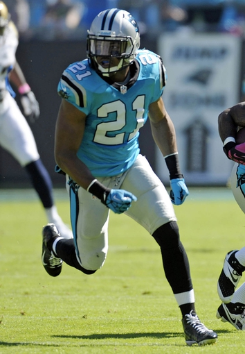 Oct 20, 2013; Charlotte, NC, USA; Carolina Panthers safety Mike Mitchell (21) during the game against the St. Louis Rams at Bank of America Stadium. Panthers win 30-15. Mandatory Credit: Sam Sharpe-USA TODAY Sports