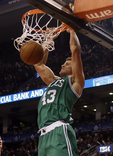 Oct 30, 2013; Toronto, Ontario, CAN; Boston Celtics forward Kris Humphries (43) dunks against the Toronto Raptors at the Air Canada Centre. Toronto defeated Boston 93-87. Mandatory Credit: John E. Sokolowski-USA TODAY Sports