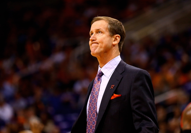 Oct 30, 2013; Phoenix, AZ, USA; Portland Trail Blazers head coach Terry Stotts in the first quarter against the Phoenix Suns at US Airways Center. Mandatory Credit: Mark J. Rebilas-USA TODAY Sports