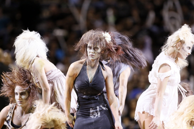 Oct 30, 2013; San Antonio, TX, USA; San Antonio Spurs cheerleaders perform during the second half against the Memphis Grizzlies at AT&T Center. The Spurs won 101-94. Mandatory Credit: Soobum Im-USA TODAY Sports