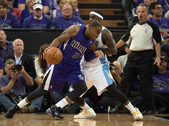 Oct 30, 2013; Sacramento, CA, USA; Sacramento Kings shooting guard Marcus Thornton (23) drives to the basket during the second quarter of the game against the Denver Nuggets at Sleep Train Arena. Mandatory Credit: Ed Szczepanski-USA TODAY Sports