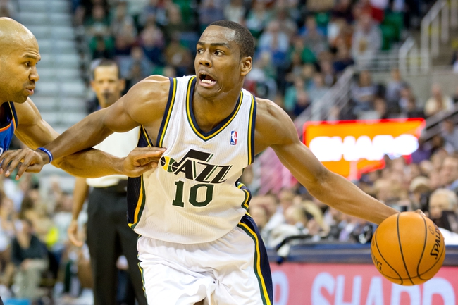 Oct 30, 2013; Salt Lake City, UT, USA; Utah Jazz point guard Alec Burks (10) controls the ball during the second half against the Oklahoma City Thunder at EnergySolutions Arena. Oklahoma City won 101-98. Mandatory Credit: Russ Isabella-USA TODAY Sports