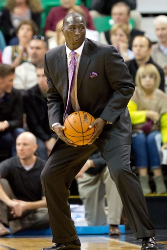 Oct 30, 2013; Salt Lake City, UT, USA; Utah Jazz head coach Tyrone Corbin during the second half against the Oklahoma City Thunder at EnergySolutions Arena. Oklahoma City won 101-98. Mandatory Credit: Russ Isabella-USA TODAY Sports