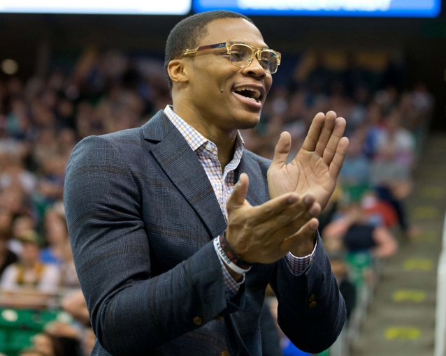Oct 30, 2013; Salt Lake City, UT, USA; Oklahoma City Thunder point guard Russell Westbrook reacts during the second half against the Utah Jazz at EnergySolutions Arena. Oklahoma City won 101-98. Mandatory Credit: Russ Isabella-USA TODAY Sports