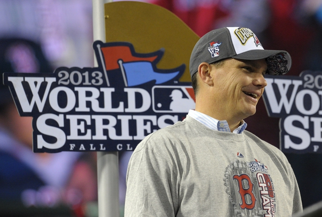 Oct 30, 2013; Boston, MA, USA; Boston Red Sox general manager Ben Cherington after game six of the MLB baseball World Series against the St. Louis Cardinals at Fenway Park. The Red Sox won 6-1 to win the series four games to two. Mandatory Credit: Bob DeChiara-USA TODAY Sports