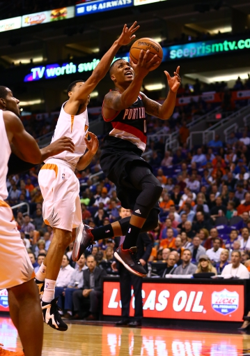Oct 30, 2013; Phoenix, AZ, USA; Portland Trail Blazers guard Damian