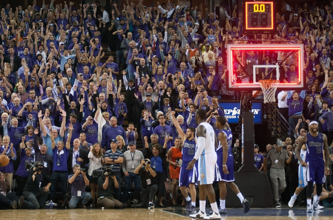 Oct 30, 2013; Sacramento, CA, USA; Sacramento Kings fans celebrate after the Kings defeated the Denver Nuggets 90-88 at Sleep Train Arena. Mandatory Credit: Ed Szczepanski-USA TODAY Sports