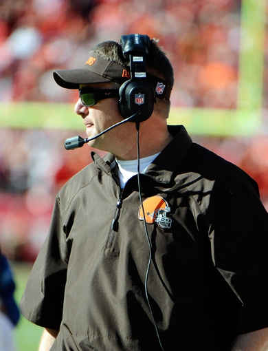 Oct 27, 2013; Kansas City, MO, USA; Cleveland Browns head coach Rob Chudzinski on the sidelines against Kansas City Chiefs in the second half at Arrowhead Stadium. The Chiefs won the game 23-17. Mandatory Credit: John Rieger-USA TODAY Sports