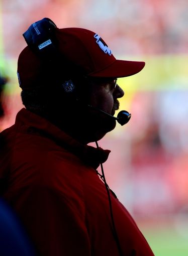 Oct 27, 2013; Kansas City, MO, USA; Kansas City Chiefs head coach Andy Reid watches play on the sidelines during the second half of the game against the Cleveland Browns at Arrowhead Stadium. The Chiefs won 23-17.  Mandatory Credit: Denny Medley-USA TODAY Sports