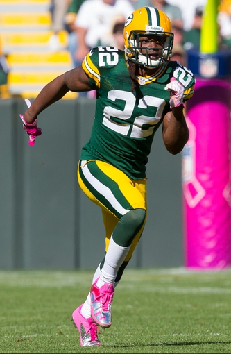 Oct 6, 2013; Green Bay, WI, USA; Green Bay Packers safety Jerron McMillian (22) during the game against the Detroit Lions at Lambeau Field.  Green Bay won 22-9.  Mandatory Credit: Jeff Hanisch-USA TODAY Sports