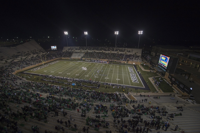 Oct 31, 2013; Denton, TX, USA; A view of the stadium during the game between the North Texas Mean Green and the Rice Owls at Apogee Stadium. Mandatory Credit: Jerome Miron-USA TODAY Sports