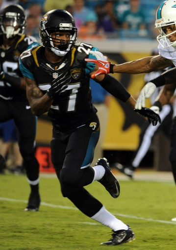 Aug 9, 2013; Jacksonville, FL, USA; Jacksonville Jaguars cornerback Dwayne Gratz (27) during the game against the Miami Dolphins at Everbank Field. Mandatory Credit: Melina Vastola-USA TODAY Sports