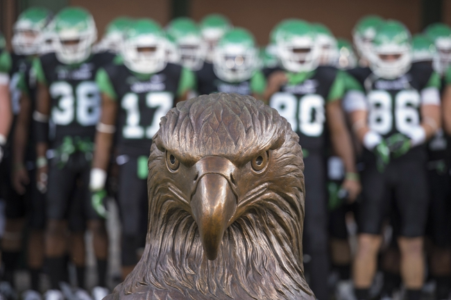 Oct 31, 2013; Denton, TX, USA; The North Texas Mean Green prepare to take the field to face the Rice Owls at Apogee Stadium. The Mean Green defeated the Owls 28-16. Mandatory Credit: Jerome Miron-USA TODAY Sports