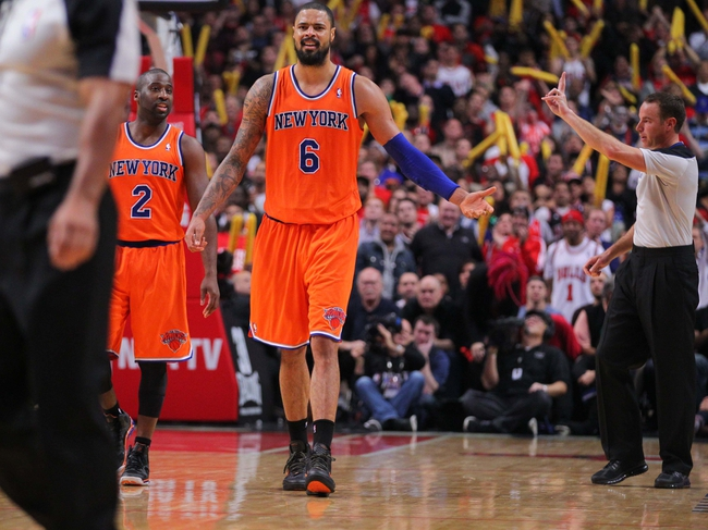 Oct 31, 2013; Chicago, IL, USA; New York Knicks center Tyson Chandler (6) is called for a foul during the second half against the Chicago Bulls at the United Center. Chicago won 82-81. Mandatory Credit: Dennis Wierzbicki-USA TODAY Sports