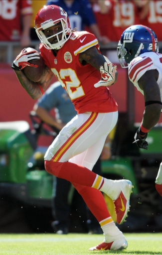 Sep 29, 2013; Kansas City, MO, USA; Kansas City Chiefs wide receiver Dwayne Bowe (82) scores a touchdown during the second half against the New York Giants at Arrowhead Stadium. The Chiefs won 31-7. Mandatory Credit: Denny Medley-USA TODAY Sports